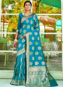 Blue Designer Classic Wear Heavy Weaving Silk Saree