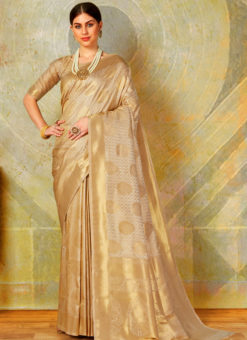 Beige Designer Classic Wear Heavy Weaving Silk Saree