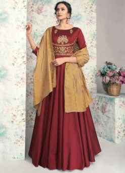 Maroon Taffeta Silk Embroidered Work Party Wear Designer Gown