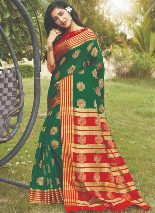 Green Cotton Silk Zari Weaving Designer Traditional Wear Saree