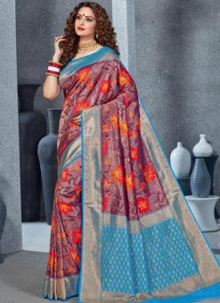 Designer Brown Party Wear Handloom Silk Saree
