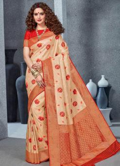 Designer Cream Party Wear Handloom Silk Saree