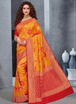 Designer Mustred Party Wear Handloom Silk Saree