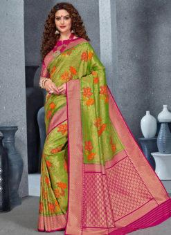 Designer Green Party Wear Handloom Silk Saree