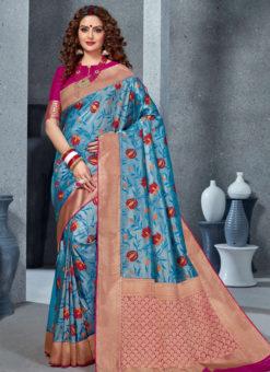Designer Blue Party Wear Handloom Silk Saree