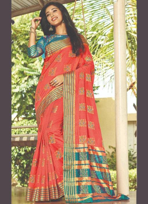 Peach Zari Weaving Cotton Silk Designer Traditional Wear Saree