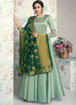 Aqua Green Taffeta Silk Embroidered Work Party Wear Designer Gown