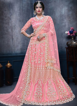 Alluring Pink Net Designer Wedding Wear Lehenga Choli