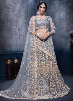 Excellent Grey Net Designer Wedding Wear Lehenga Choli