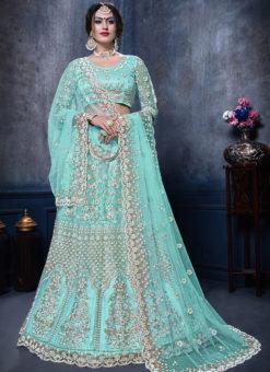 Wonderful Aqua Net Designer Wedding Wear Lehenga Choli