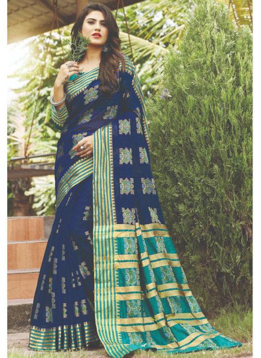 Designer Cotton Blue Zari Weaving Traditional Wear Silk Saree