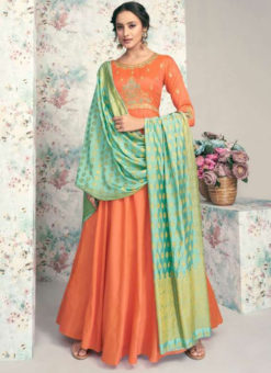 Orange Taffeta Silk Party Wear Embroidered Work Designer Gown