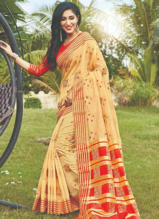 Silk Yellow Zari Weaving Cotton Silk Designer Traditional Wear Saree