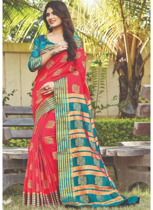 Rani Designer Cotton Zari Weaving Traditional Wear Silk Saree