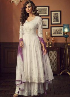 Latest Off White Designer Pakistani Style Faux Georgette Palazzo Suit