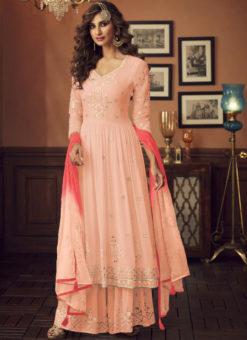 Latest Peach Designer Pakistani Style Faux Georgette Palazzo Suit