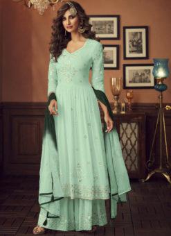 Latest Green Designer Pakistani Style Faux Georgette Palazzo Suit