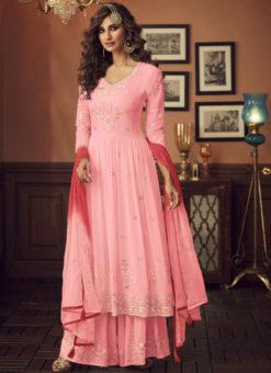 Latest Pink Designer Pakistani Style Faux Georgette Palazzo Suit