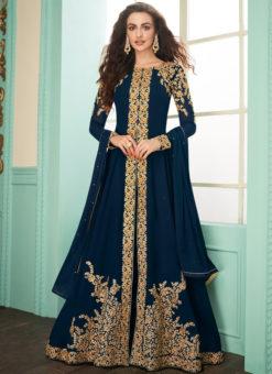 Navy Blue Georgette Embroidered Work Designer Anarkali Suit