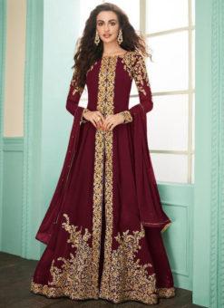 Maroon Georgette Embroidered Work Designer Anarkali Suit