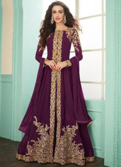 Purple Georgette Embroidered Work Designer Anarkali Suit