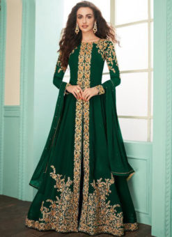 Green Georgette Embroidered Work Designer Anarkali Suit