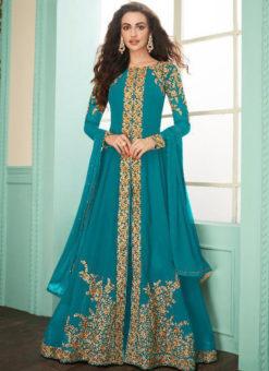 Sky Blue Georgette Embroidered Work Designer Anarkali Suit