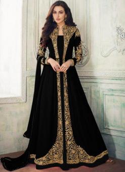 Black Georgette Embroidered Work Designer Anarkali Suit