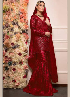 Red Heavy Embroidred Georgette Designer Pakistani Suit
