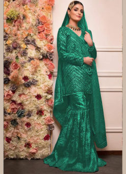 Green Heavy Embroidred Georgette Designer Pakistani Suit