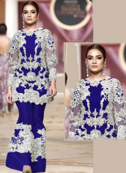 Heavy Embroidred Designer Blue Net Pakistani Suit
