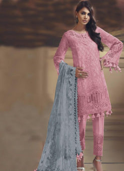Pink Tissue Silk And Net Designer Pakistani suit