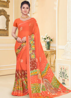 Designer Party Wear Printed Soft Rainbows Chiffon 2 Tone Saree