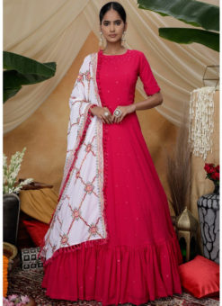 Designer Rani Georgette Embroidered Semi Stitched Party Wear Gown