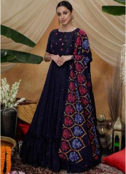 Latest Navy Blue Silk Semi Stitched Embroidered Work Designer Gown