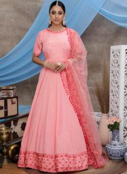 Pink Silk Embroidered Work Designer Semi Stitched Wedding Gown