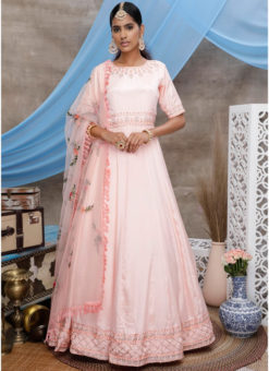 Georgette Designer Peach Embroidered Work Semi Stitched Party Gown