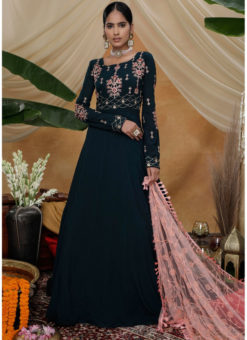 Embroidered Work Elegant Blue Georgette Party Wear Semi Stitched Gown