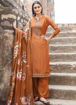 Orange Cotton Embroidered Work Casual Wear Churidar Salwar Suit