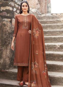 Brown Cotton Embroidered Work Casual Wear Churidar Salwar Suit
