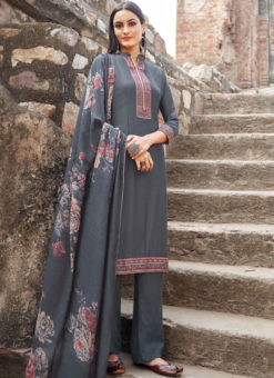 Grey Cotton Embroidered Work Casual Wear Churidar Salwar Suit