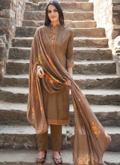 Beige Cotton Embroidered Work Casual Wear Churidar Salwar Suit