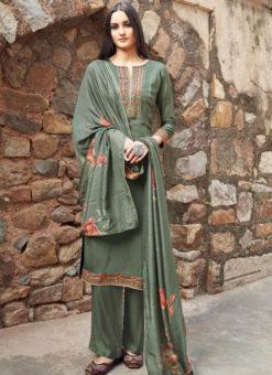 Sea Green Cotton Embroidered Work Casual Wear Churidar Salwar Suit