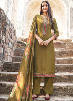 Green Cotton Embroidered Work Casual Wear Chudridar Salwar Suit