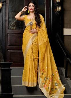 Yellow Silk Printed Designer Sangeet Sandhiya Party Wear Saree
