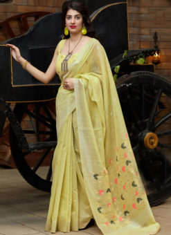 Lemon Yellow Silk Printed Designer Sangeet Sandhiya Party Saree