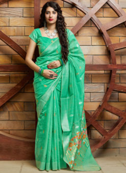 Sea Green Silk Printed Designer Mehendi Rasam Party Wear Saree
