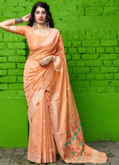 Peach Printed Designer Party Wear Sangeet Sandhiya Silk Saree