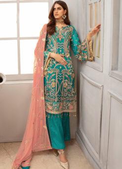 Turquoise Georgette Heavy Designer Pakistani Style Salwar Suit