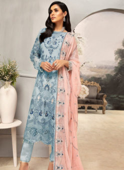 Blue Net Heavy Embroidered Work Designer Pakistani Style Salwar Suit
